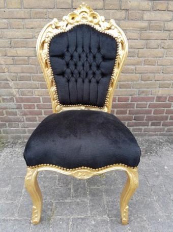 Barokstoel goud met zwart (zonder armleuningen)